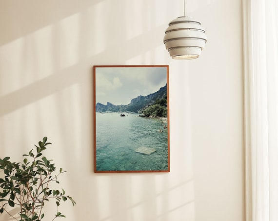 Photography art print of the ocean and mountains in Sorrento, Italy. Print is printed on a matte, high quality paper.