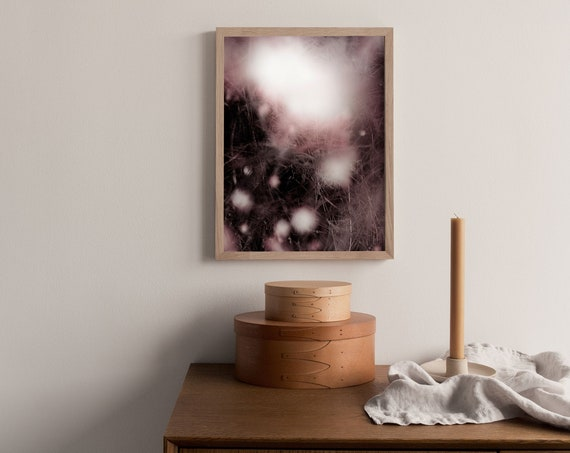 Abstract photography art print of snowberries and grass in pink and dark burgundy. Printed on a high quality, matte paper.