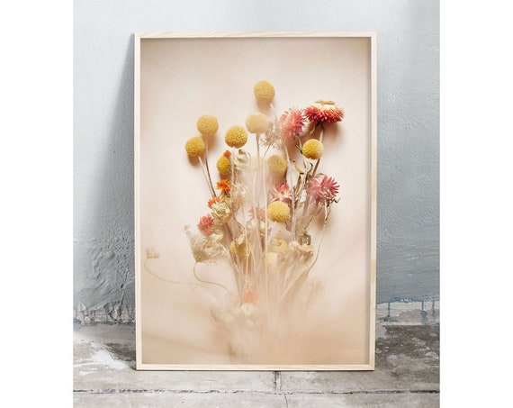 Photography art digital download of dried flower bouquet. Natural tones printable wall art.