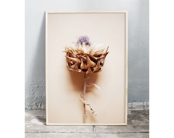Photography art digital download of dried artichoke flower. Natural tones printable wall art.