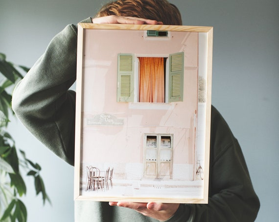 Art photography print of a pink house in Italy. Printed on a matte, high quality paper.