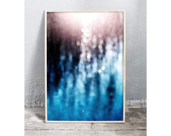 Abstract photography art print of icy water and common reed by a lake. Print is printed on a high quality, matte paper.