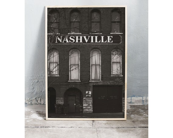 Black and white digital downloadable photo of old brick building in Nashville