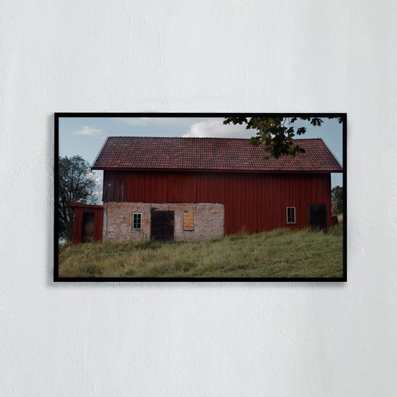 Frame TV Art, Digital downloadable art photography, Art photo of red barn in the Swedish countryside, Art for digital TV