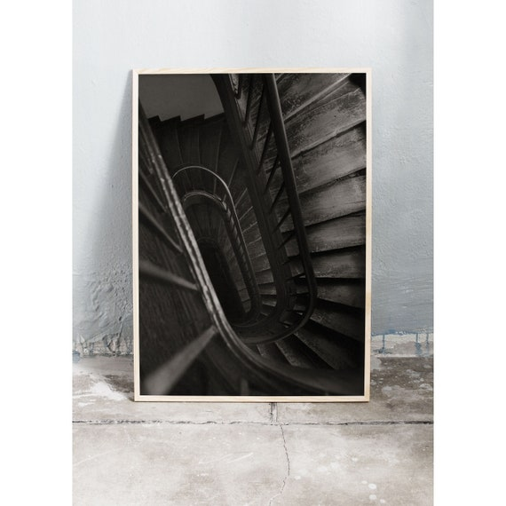 Black and white digital downloadable photo of a staircase in a Parisian building.