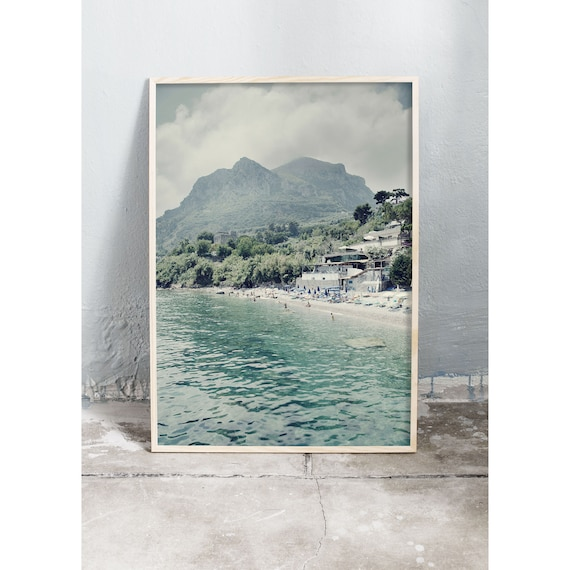 Photography art print of the green ocean, beach and mountains in Sorrento, Italy. Print is printed on a high quality, matte paper.