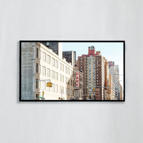 Frame TV Art, Digital downloadable art photography, Buildings a sunny morning in New York City, Art for digital TV