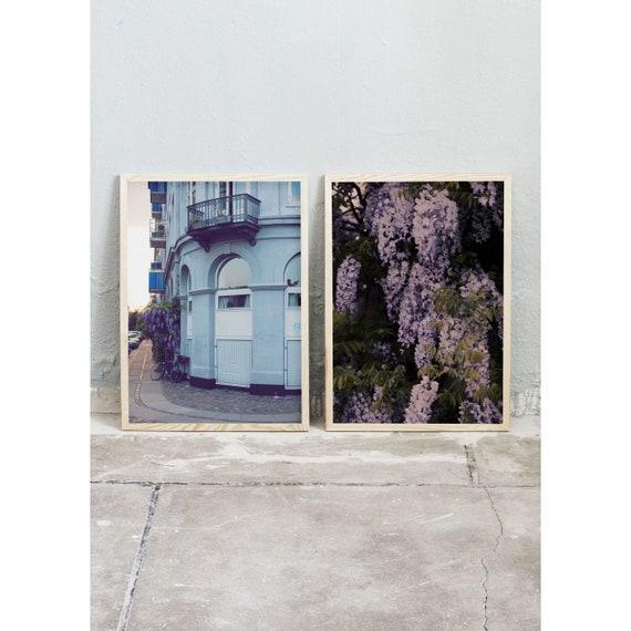 Photography, Art, Set of 2, Wisteria, Art Prints, Wall Art,  Flowers, Color Print, Blue, Purple, Building, Pastel Art, Blooms, Copenhagen