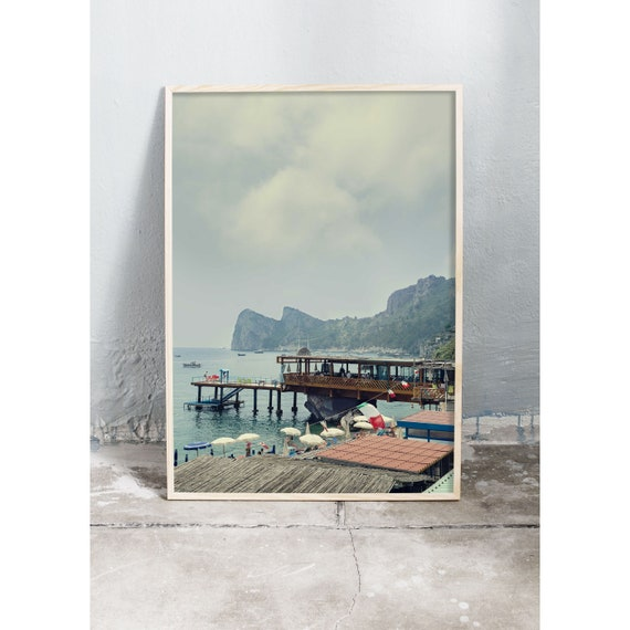 Photography art print of the beach, ocean and mountains in Sorrento, Massa Lubrense, Italy. Print printed on a matte, high quality paper.