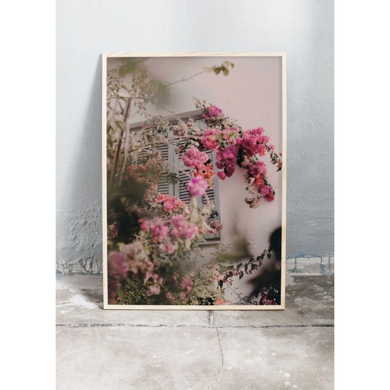 Photography art print of pink bougainvillea growing on Crete in Greece. Print is printed on a high quality, matte paper.
