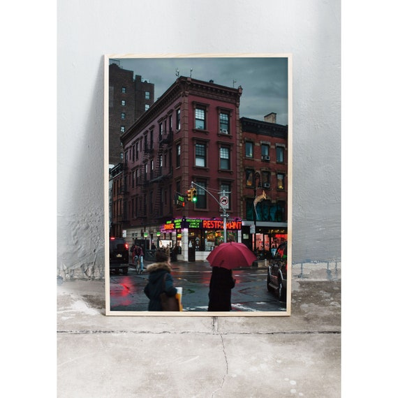 Moody photography art print from a rainy day on the street of N.Y.C. Print is printed on a high quality, matte paper.