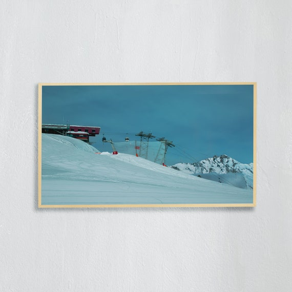 Frame TV Art, Digital downloadable art, Art work of the Swiss Alps, Snowy mountains Switzerland and blue sky, Ski lift and slope in Nendaz