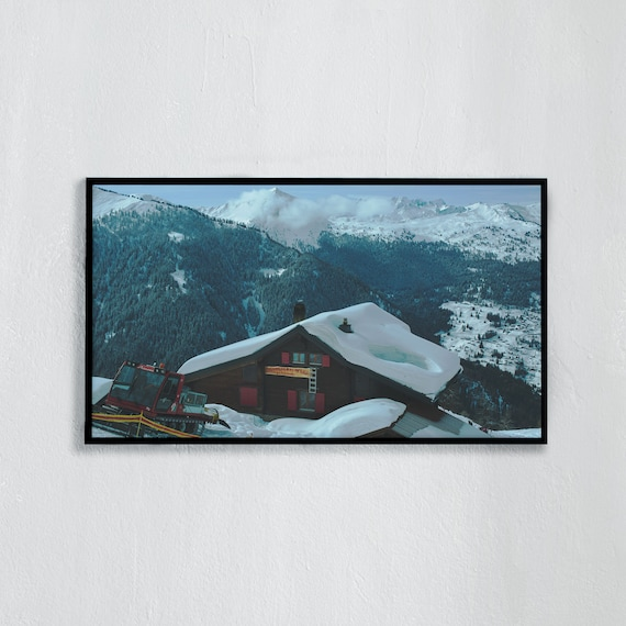 Frame TV Art, Digital downloadable art, Art work of the Swiss Alps, Snowy mountains in Switzerland and blue sky, Swiss chalet with snow