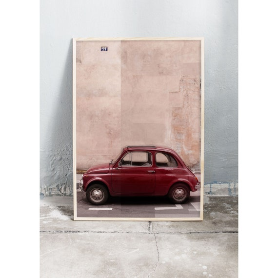 Photography art print of a red vintage Fiat on the streets of Paris. This photo is a collage. Printed on a high quality, matte paper.