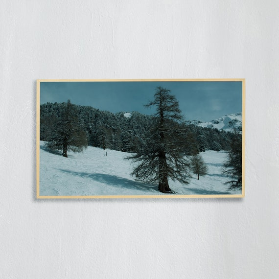 Frame TV Art, Digital downloadable art, Art work of the Swiss Alps, Snowy mountains in Switzerland, ski slope with larch trees in Nendaz