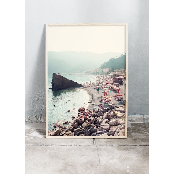 Photography art print of the beach, ocean and mountains of Cinque Terre in Italy. Print is printed on a high quality, matte paper.