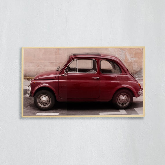Frame TV Art, Digital downloadable art photography, Art photo of a red Fiat 500 in Paris, Art for digital TV