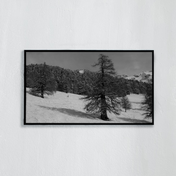 Frame TV Art, Digital downloadable art, Art work of the Swiss Alps, Black and white photo of snowy mountains, larch trees in the skislope
