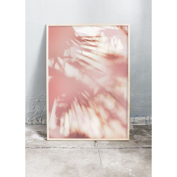 Photography art print of palm tree shadow play on pink stone wall in Italy. Print printed on high quality, matte paper.