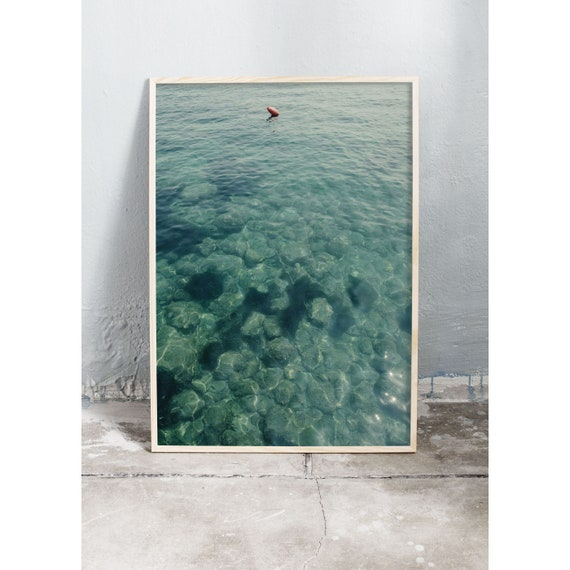 Photography art print of the green ocean water in Sorrento, Italy. Print is printed on a high quality, matte paper.