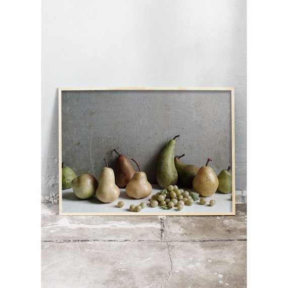 Food photography art print och grey, green and brown pears and gooseberries. Print is printed on a high quality, matte paper.