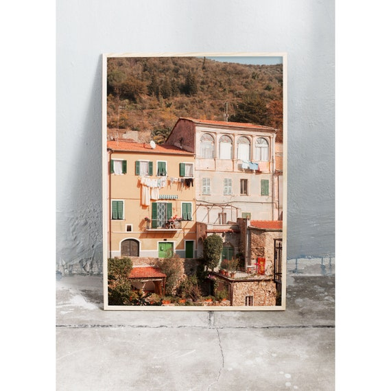 Photography art print of buildings in Liguria, Italy. Print is printed on a matte, high quality paper.