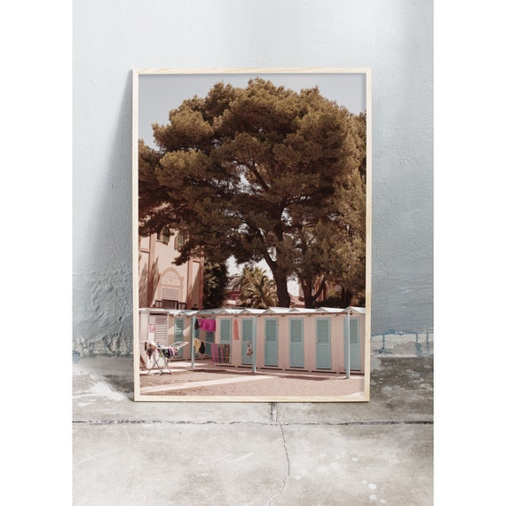 Photography art print of beach huts by the beach in Sestri Levante, Italy. Printed on high quality, matte paper.