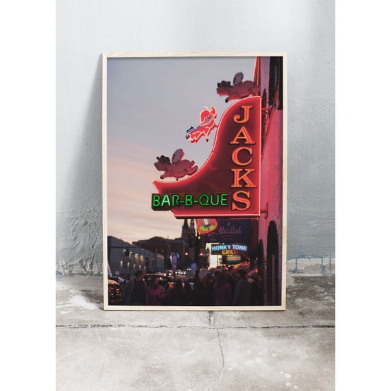 Art photography print of neon signs in Nashville. Printed on a high quality, matte paper.