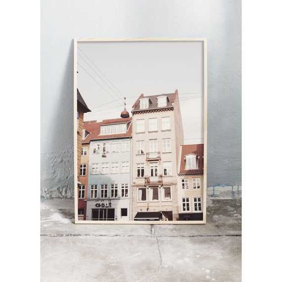 Photography art print of colourful buildings in Copenhagen. Photo is printed on a high quality, matte paper.