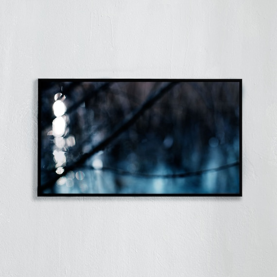 Frame TV Art, Digital downloadable art photography, Abstract photo art of a blue, icy lake, Art for digital TV