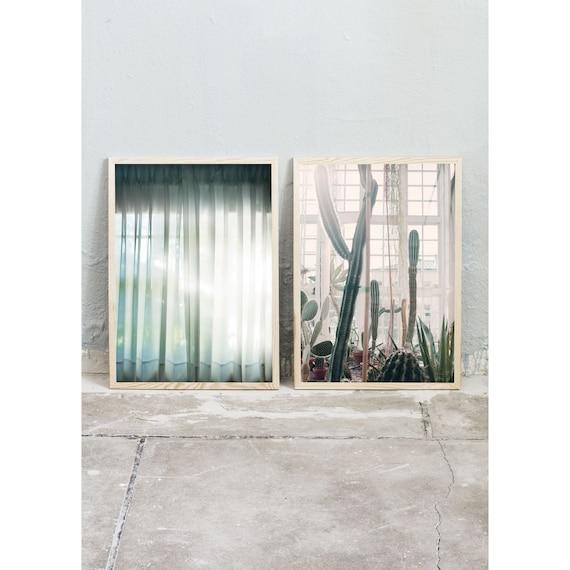 Photography, Art, Set of 2, Cactus, Greenhouse, Art Prints, Wall Art,  Flowers, Color Print, Green, Nature, Pastel Art, Window