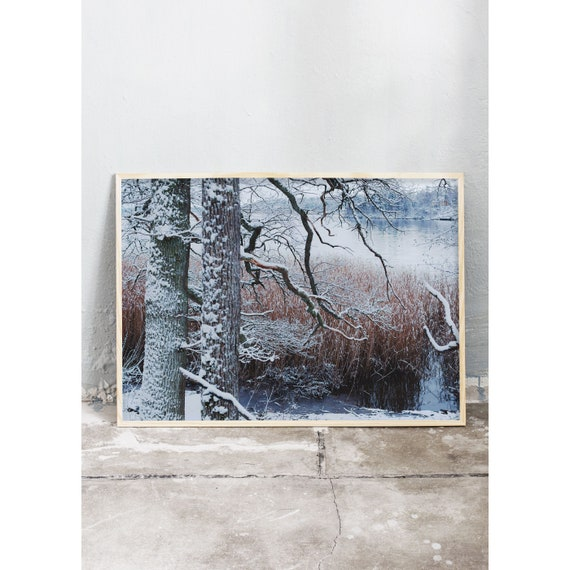Photography art print och a winter landscape by a lake. Print is printed on a high quality, matte paper.