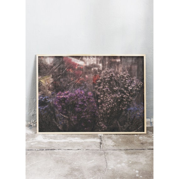 Photography art print of flowers in a rainy flower market in Copenhagen. Printed on high quality, matte paper.