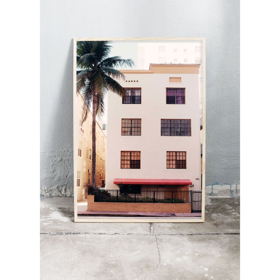 Photography art print of light yellow building in Miami. Printed on a matte, high quality paper.