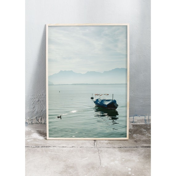 Photography Print, Montreux, Alps, Lake Photo, Color Print, Pastel Print, Home Decor, Art Print, Emerald Green, Bedroom Art, Travel Art