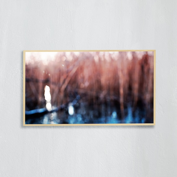 Frame TV Art, Digital downloadable art photography, Abstract photo art of a blue, icy lake and common reed, Art for digital TV