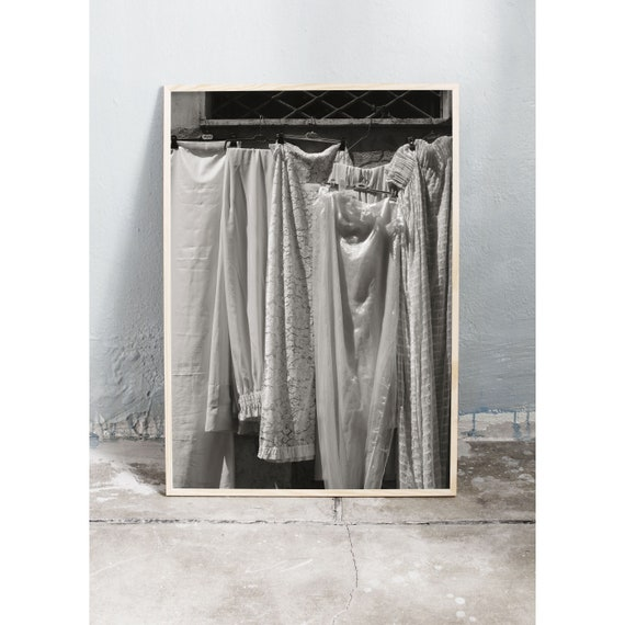 Black and white digital downloadable photo of different textured vintage fabrics for sale in Ercolano, Italy.