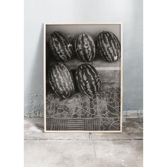 Black and white digital downloadable photo of watermelons in Greece.