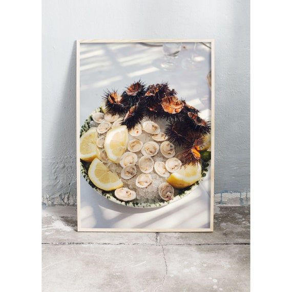 Photography art print of a plate of Italian sea food served for lunch in the shade. Print printed on a high quality, matte paper.