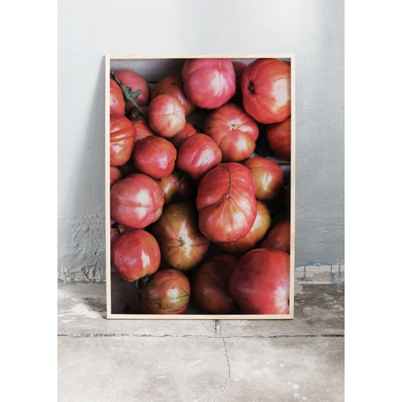 Photography art print of red tomatoes in an Italian food market. Print is printed on a high quality, matte paper.