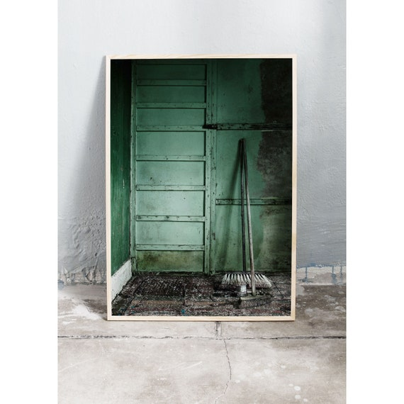 Photography art print of a green wall in old abandoned cottage. Print is printed on a high quality, matte paper.
