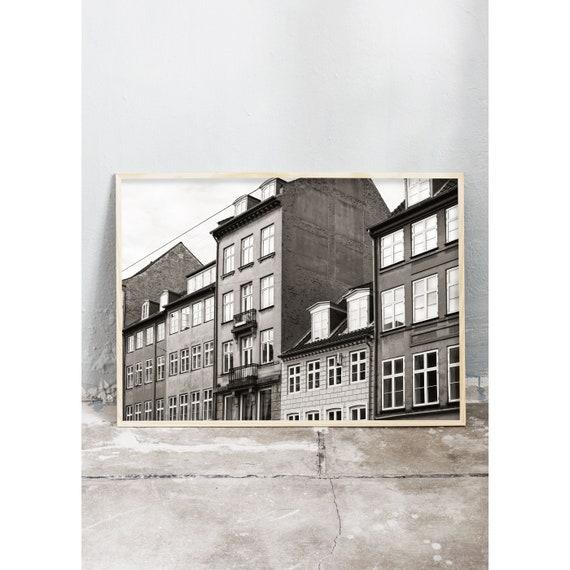 Black and white digital downloadable photo of building in Copenhagen, Denmark.