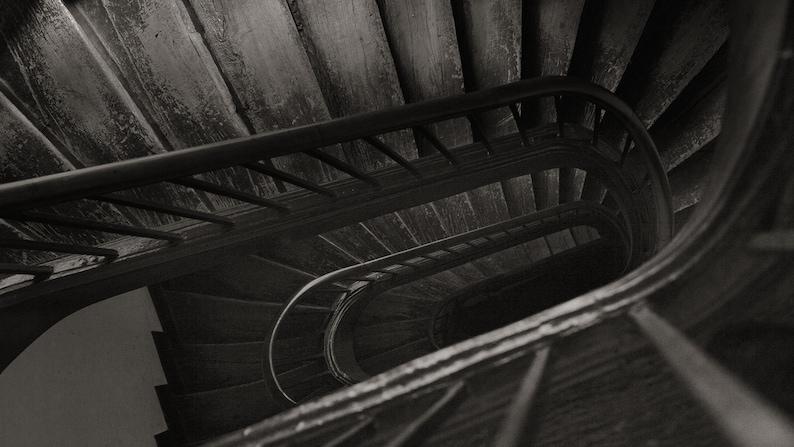Frame TV Art Art for digital Digital downloadable art work Black and white old wooden staircase in Paris