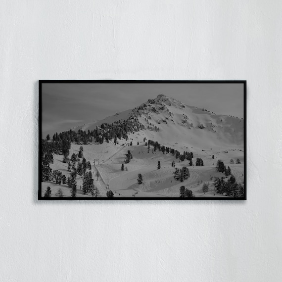 Frame TV Art, Digital downloadable art, Art work of the Swiss Alps, Black and white photo of snowy mountain and ski slopes in Switzerland