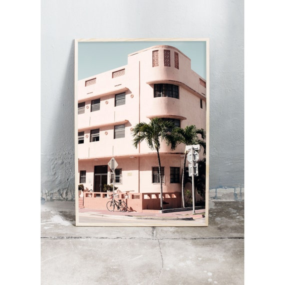 Art photography print of light pink building i Miami with palm trees. Printed on a high quality, matte paper.