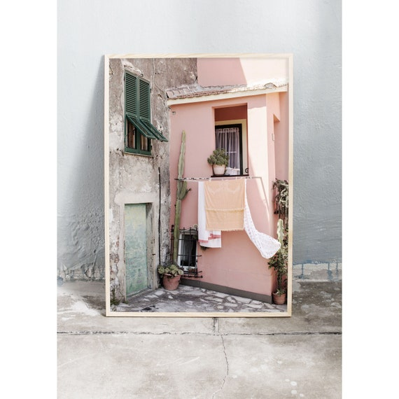 Art photography print of old pink and green house in Italy. Print printed on a high quality, matte paper.