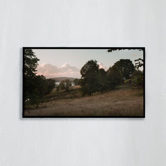 Frame TV Art, Digital downloadable art photography, Art photo of rolling hills, a lake in the Swedish countryside, Art for digital TV