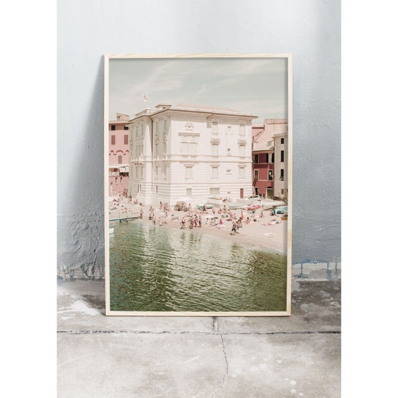 Photography art print of a house on the beach with emerald green water in Sestri Levante, Italy. Printed on high quality, matte paper.