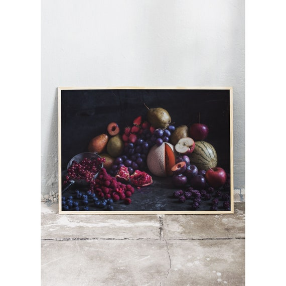 Moody still life art photography print of fruits and berries. The print is printed on beautiful, high quality, matte paper.