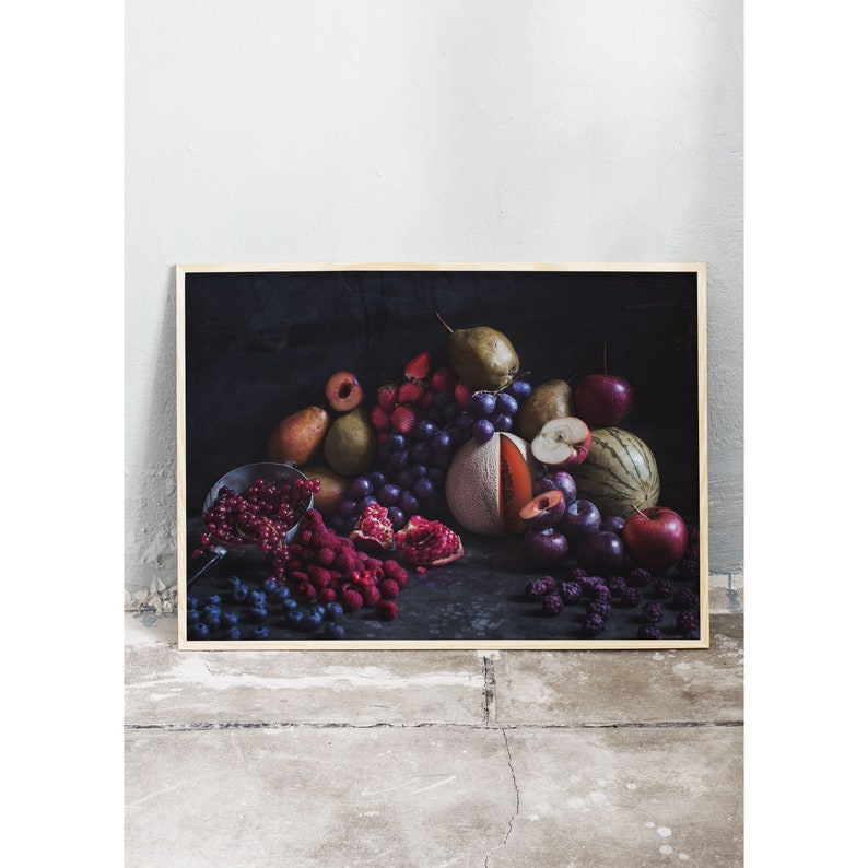 Moody still life art photography print of fruits and berries. image 0